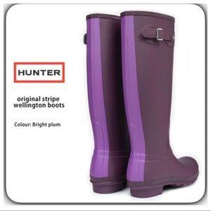 Hunter Original Stripe Plum Tall Rain Boots SZ 7